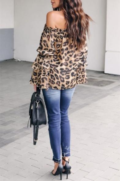 Womens Stylish Ruffled Off the Shoulder Long Sleeve Leopard Print Khaki Chiffon Blouse Top