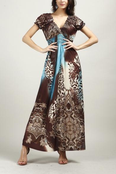 Womens Summer Fashion Printed Chic V-Neck Short Sleeve Maxi Silk Bohemian Dress