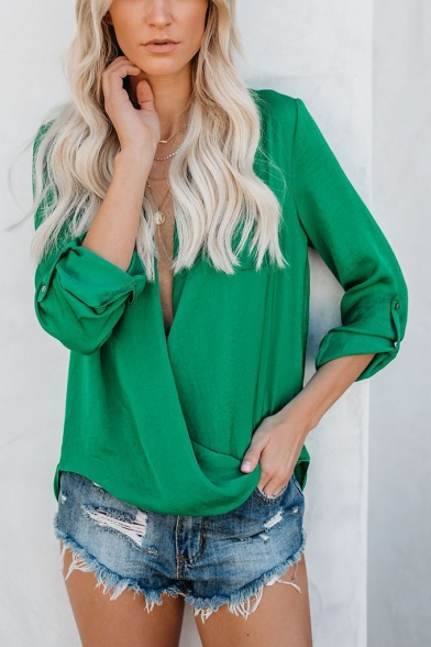 Womens Summer Sexy Plunging V-Neck Long Sleeve Simple Plain Casual Loose Blouse Top