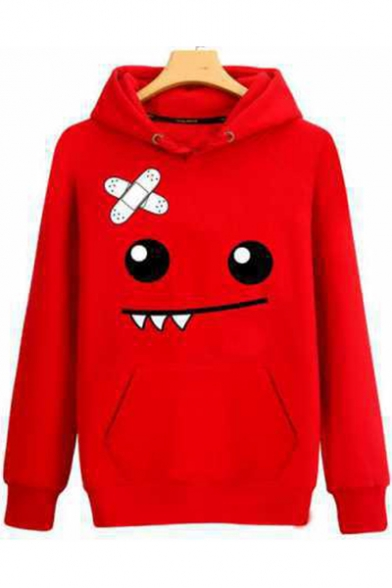 Cartoon Smile Face Printed Basic Long Sleeve Casual Sport Pullover Hoodie