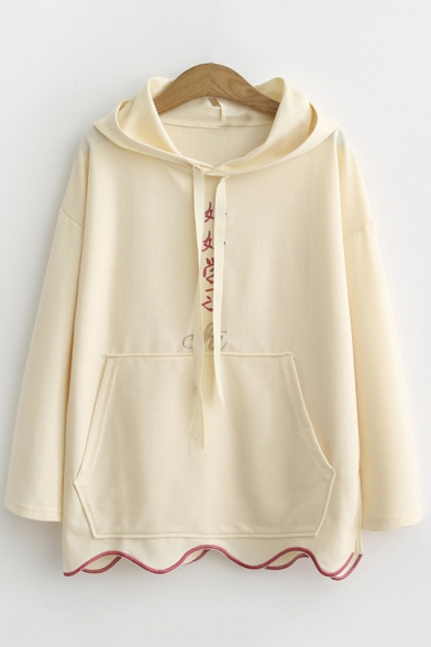 CHI Letter Embroidered Drawstring Long Sleeve Ruffle Hem Hoodie with Pocket