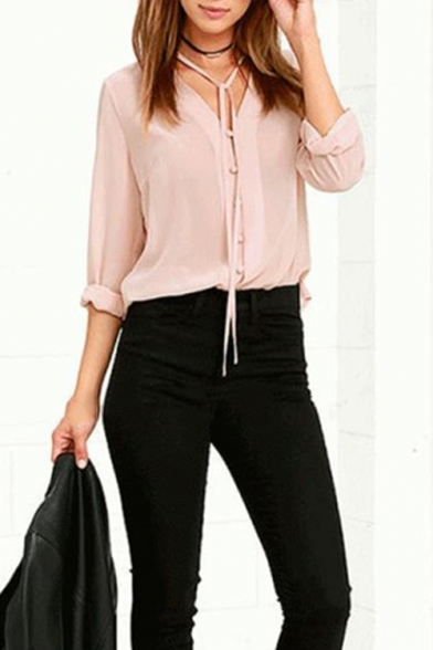 Baycheer / Chic Pink Tied V-Neck Long Sleeve Solid Color Casual Button Down Chiffon Blouse Top