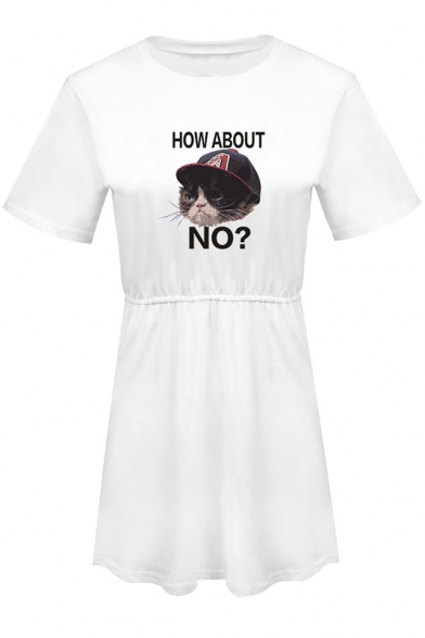 Cute Cartoon HOW ABOUT NO Grumpy Cat Printed Round Neck Short Sleeve Mini A-Line T-Shirt Dress