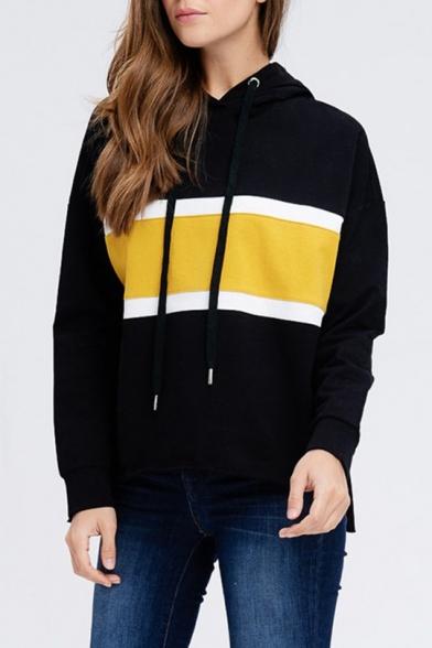 Fancy Color Block Long Sleeve Casual Sport Loose Pullover Black Hoodie