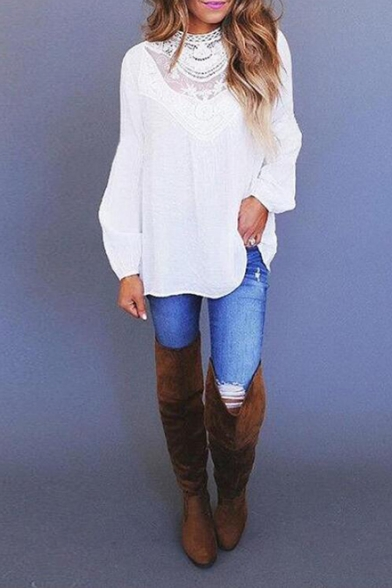 Fashion Chic Lace-Panel Long Sleeve Simple Plain Casual Loose Blouse Top