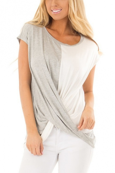 Fashion Two-Tone Round Neck Short Sleeve Twist Front Grey and White T-Shirt