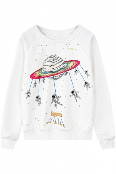 Funny Letter HAPPINESS Planet Astronaut Printed Round Neck Long Sleeve Pullover Sweatshirt