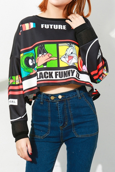 FUTURE BLACK FUNNY ZZ Letter Colorblock Cartoon Rabbit Duck Animals Printed Round Neck Long Sleeve Cropped Sweatshirt