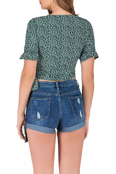 Holiday Vintage Green Floral Printed Surplice V-Neck Short Sleeve Tied Side Cropped Blouse Top