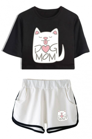 Lovely Cartoon Cat Letter DOG MOM Print Short Sleeve Crop Tee with Sport Dolphin Shorts Two-Piece Set, LM533984, Color 1;color 2;color 3;color 4;color 5;color 6;color 7;color 8