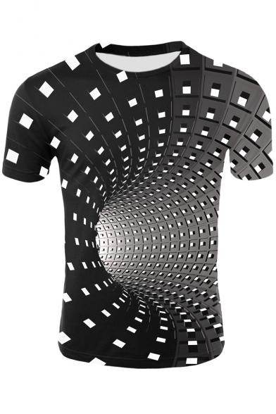 Men's Hot Sale 3D Whirlpool Plaid Print Short Sleeve Round Neck Black Basic T-Shirt