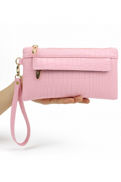 New Stylish Crocodile Pattern PU Leather Clutch Purse with Zipper for Women 21*11*2 CM