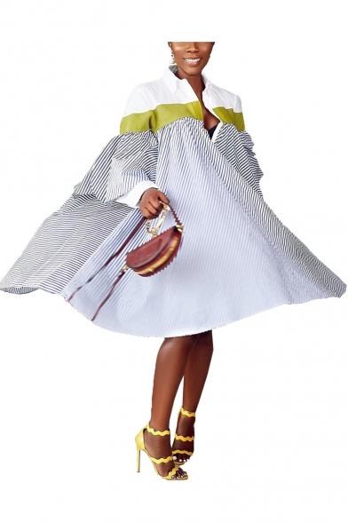 New Trendy Half Sleeve Plunge Neck Stripes Print Casual Loose Midi Asymmetric Dress For Women
