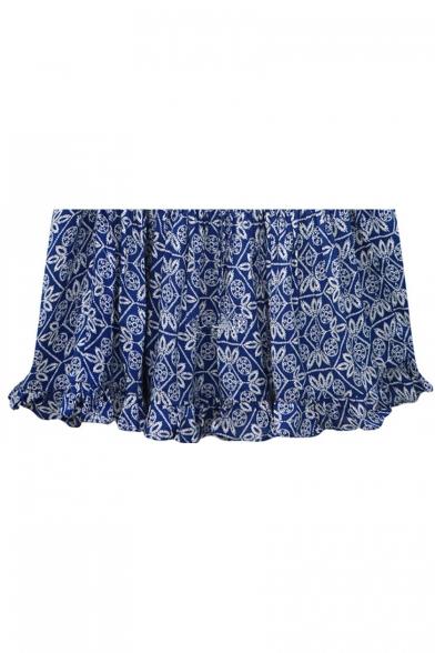 Summer Chic Blue Floral Pattern V-Neck Short Sleeve Button Front Mini Cotton Dress