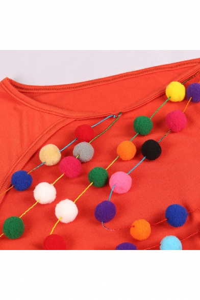 Summer Holiday Solid Color Fashion Colorful Pompom Embellished Open Back V-Neck Mini Shift Cami Dress