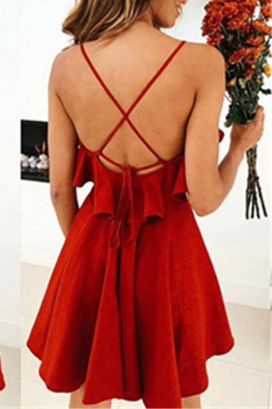 Summer Hot Popular Simple Solid Color Ruffled Hem Open Back Red A-Line Cami Dress