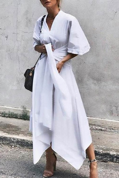 Summer New Casual V Neck Half Sleeve Bow-Tide Waist Midi Asymmetric Dress For Women