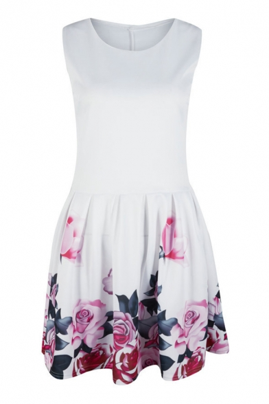 Summer Sexy Floral Print Round Neck Sleeveless Mini A-Line Tank Dress For Women