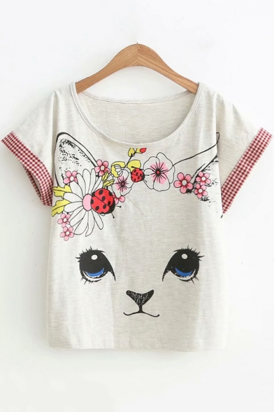 Summer Sweet Pattern Girls Basic Round Neck Short Sleeve Loose Fit T-Shirt