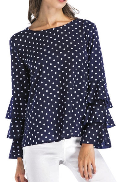 Summer Trendy Classic Polka Dot Printed Round Neck Layer Ruffled Flared Sleeve Loose Blouse Top