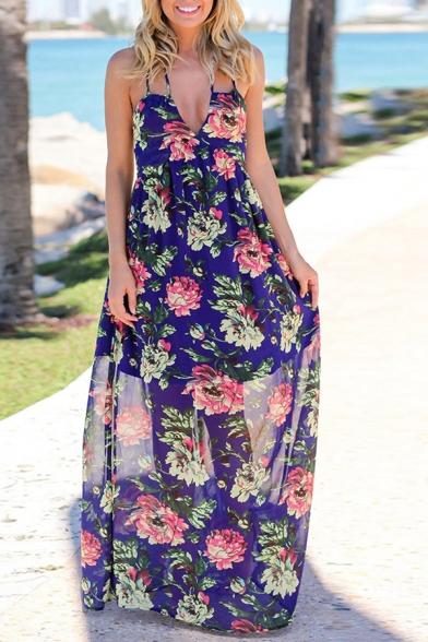 Summer Trendy Sexy Halter V-Neck Sleeveless Floral Printed Backless Maxi Slip Chiffon Dress