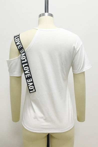 Summer Unique Letter Strap Cold Shoulder Short Sleeve Casual Loose T-Shirt