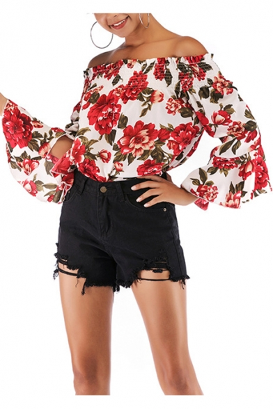Trendy Chic Red Floral Pattern Off the Shoulder Flared Sleeve Chiffon Blouse