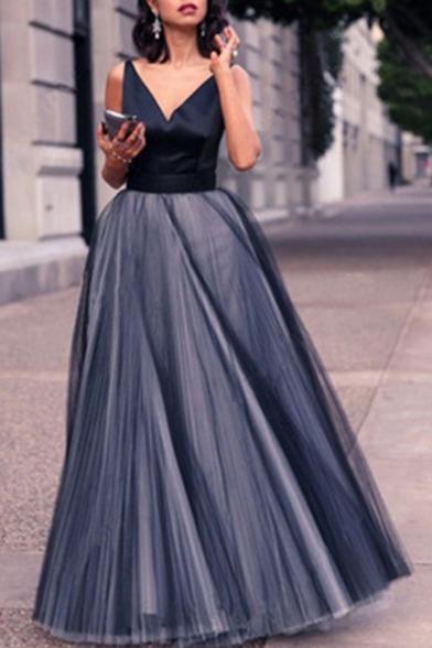 Trendy Navy V-Neck Sleeveless Womens Mesh Panel Swing Evening Gown Dress
