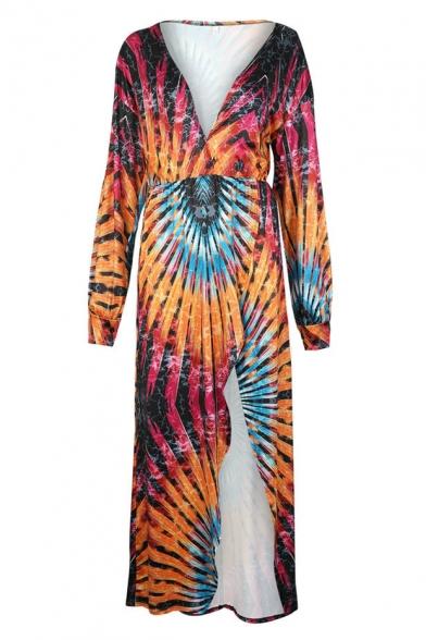 Women's Amazing Plunge Neck Long Sleeve Tribal Printed Split Side Length Floor Swing Dress