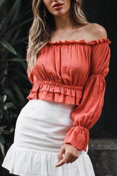 Women's Chic Orange Red Ruffled Hem Off the Shoulder Long Sleeve Blouse Top