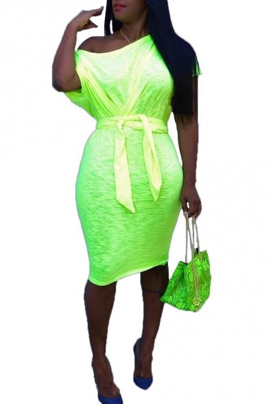 Women's Green Solid Color One Shoulder Short Sleeve Bow Tie Midi Bodycon Pencil Dress