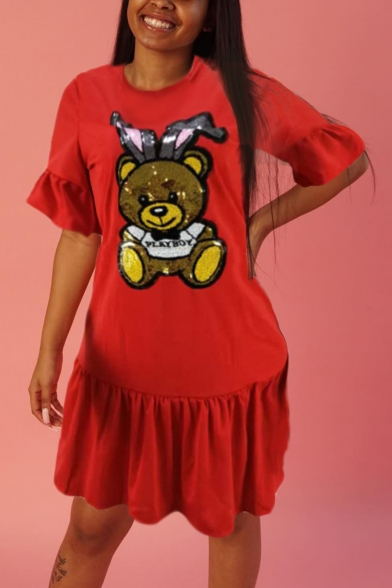 Women's Hot Fashion Cute Cartoon Bear Print Round Neck Ruffle Short Sleeve Sequined Detail Mini Red Dress
