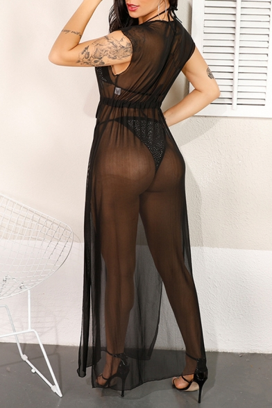 Women's Sexy Black Plunged V-Neck Tied Waist Split Side Maxi Sheer Mesh Bikini Cover Up Dress