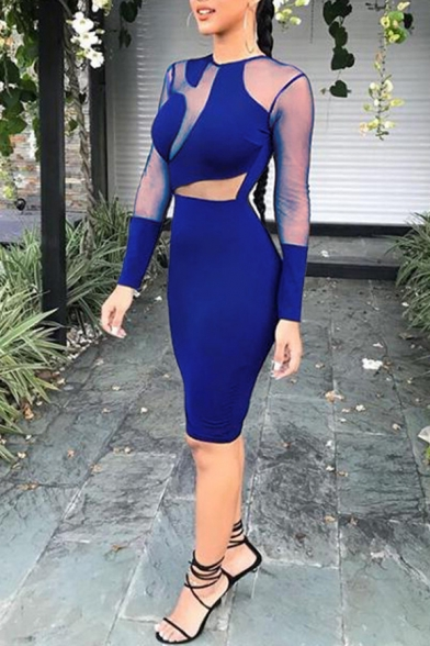 Women's Sexy Night Club Round Neck Long Sleeve Zip Back Plain Sheer Lace Patched Bodycon Midi Dress