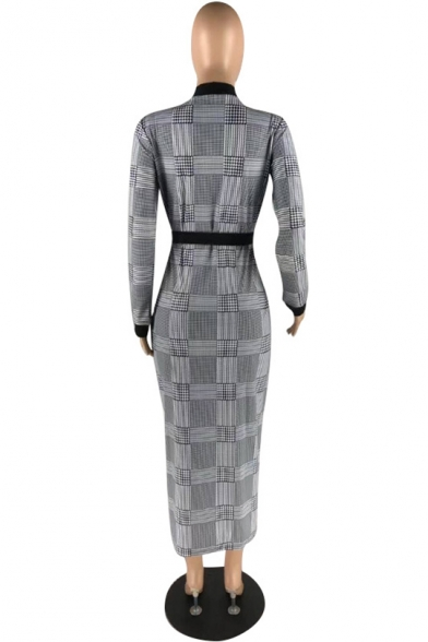 Women's Sexy Plunge Neck Long Sleeve Black And White Plaid Printed Split Side Bow-Tied Waist Maxi Shirt Dress