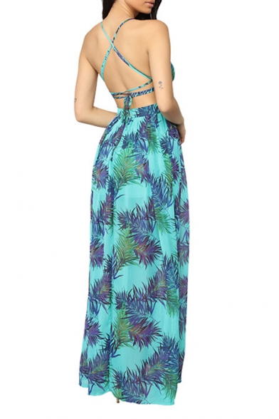 Women's Sexy V-Neck Sleeveless Tribal Leaf Printed Split Side Cutout Detail Backless Maxi Slip Light Blue Dress