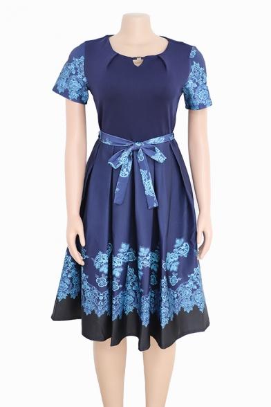 Women's Stylish Floral Print Short Sleeve Round Neck Bow-Tied Waist Midi A-Line Dress