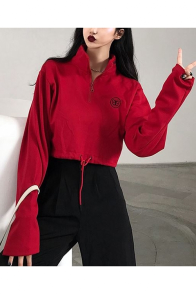 Chic Butterfly Print Zipper Front High Neck Long Sleeve Drawstring Hem Red Cotton Loose Fit Cropped Sweatshirt