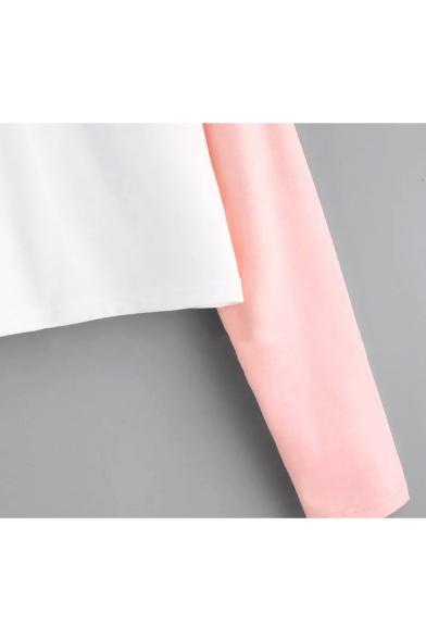 Cute Cartoon Cloud Rain Print Color Block Long Sleeve Cropped White Hoodie