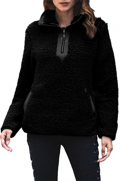 Fashion Plain Zip Front Stand Collar Long Sleeve Split Side Fleece Sweatshirt with Pockets