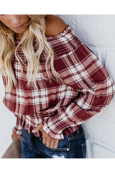Fashion Red Plaid Printed Long Sleeve Off the Shoulder Ruffled Blouse Top