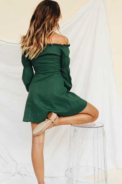 Fashion Vintage Green Ruffled Tied Off the Shoulder Long Sleeve Button Front Mini A-Line Cotton Dress