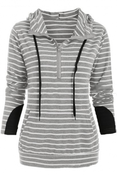 Fashion Women's Stripe Print Half-Zip Front Drawstring Hood Patched Long Sleeve Hoodie