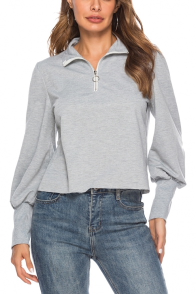 Gray Zippered Lapel Collar Lantern Sleeve Plain Sweatshirt
