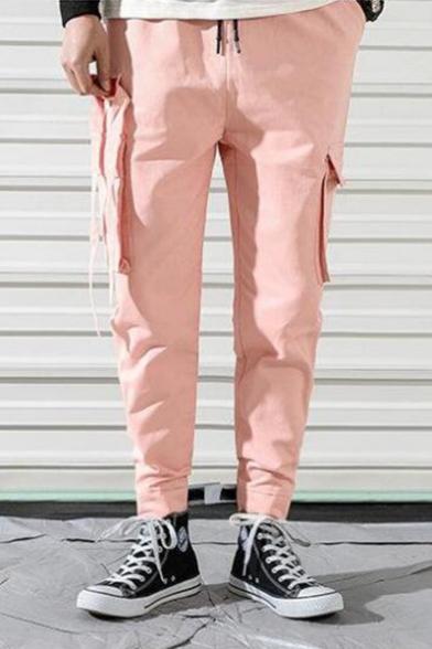 Guys Summer Stylish Ribbon Pocket Side Drawstring Waist Velcro Cuff Cotton Cargo Pants