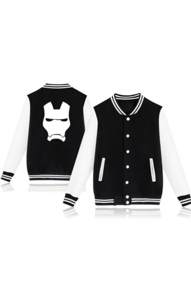 Hot Fashion Iron Print Stand Collar Long Sleeve Button-Front Casual Black Baseball Jacket
