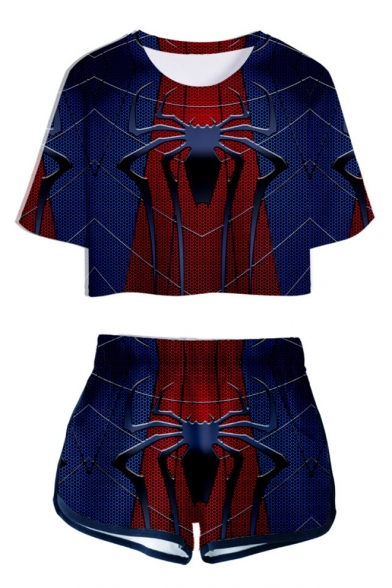 Hot Popular Blue and Red Spider Pattern Short Sleeve Cropped T-Shirt with Dolphin Shorts Two-Piece Set