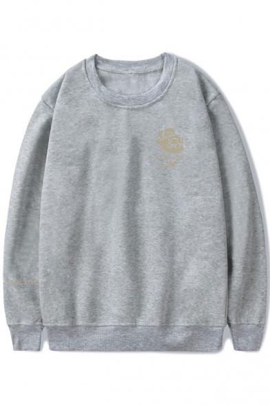 Hot Popular Floral Logo Print Round Neck Long Sleeve Pullover Unisex Sweatshirt