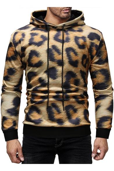 Men's Fashion Leopard Print Long Sleeve Slim Fit Drawstring Hoodie