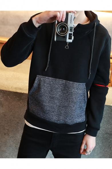 Men's Simple Plain Long Sleeve Drawstring Detail Casual Black Hoodie
